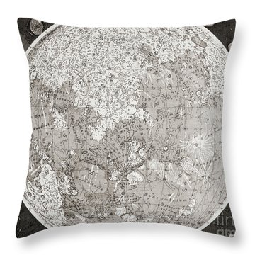 Map Of The Moon Produced In The 1830s Throw Pillow