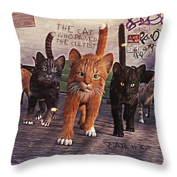March Of The Mau Throw Pillow