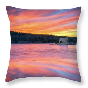 March Sunset At The Old Stone Church Throw Pillow