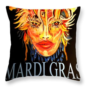 Mardi Gras Lady Throw Pillow