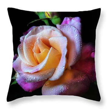 Mardi Gras Rose Portrait Throw Pillow