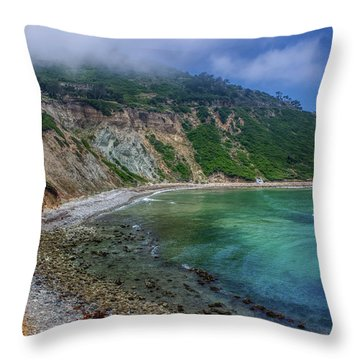 Marine Layer Over Bluff Cove Throw Pillow