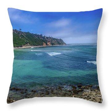Marine Layer Over Bluff Cove Panorama Throw Pillow