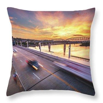 Market Street Commuters Throw Pillow