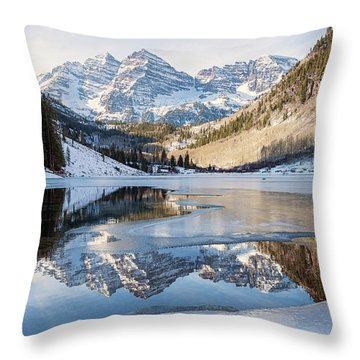 Throw Pillow featuring the photograph Maroon Bells Reflection Winter by Nathan Bush