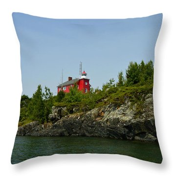 Marquette Michigan Lighthouse Throw Pillow