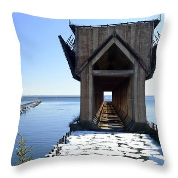 Marquette Ore Dock Cathedral Throw Pillow