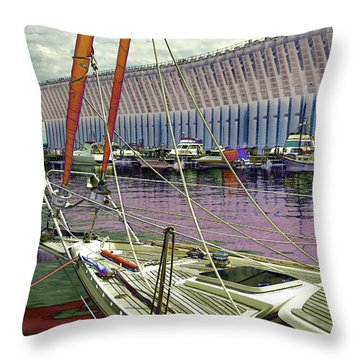 Marquette Ore Dock Lower Harbor. Throw Pillow