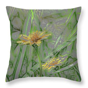 Marsh Flower Abstract Throw Pillow