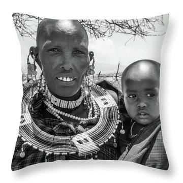 Masaai Mother And Child Throw Pillow