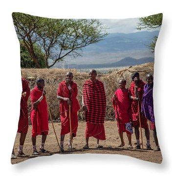 Maasai Men Throw Pillow