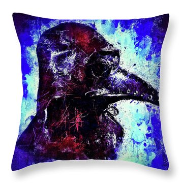 Throw Pillow featuring the mixed media Plague Mask 3 by Al Matra