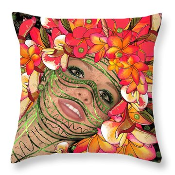 Mask Freckles And Flowers Throw Pillow
