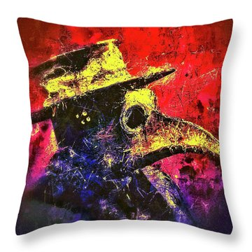 Throw Pillow featuring the mixed media Plague Mask  by Al Matra