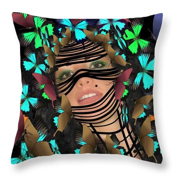 Mask Of Butterflies And Bondage Throw Pillow