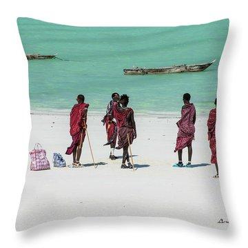 Massai At The Beach Throw Pillow