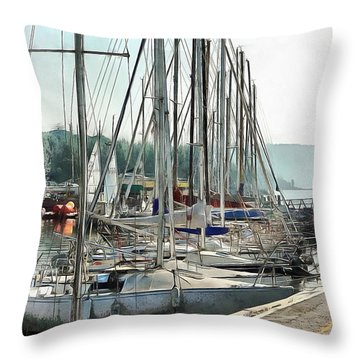 Throw Pillow featuring the photograph Masts In A Row At Passignano by Dorothy Berry-Lound