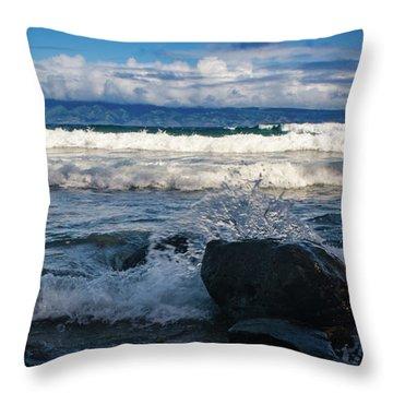 Maui Breakers Pano Throw Pillow