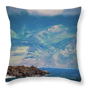 Maui Fisherman Throw Pillow