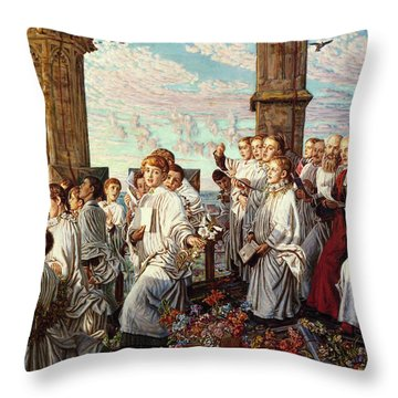 May Morning On Magdalen College, Oxford, Ancient Annual Ceremony Throw Pillow