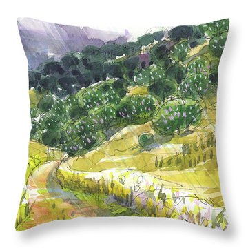 Throw Pillow featuring the painting May Rain by Judith Kunzle