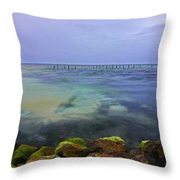 Mayan Sea Rocks Throw Pillow