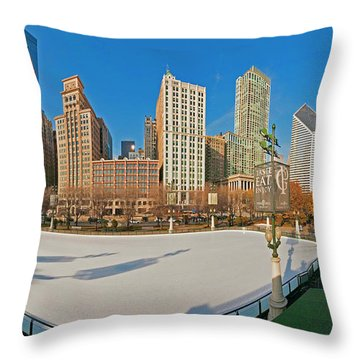 Mccormick Tribune Plaza Ice Rink And Skyline   Throw Pillow