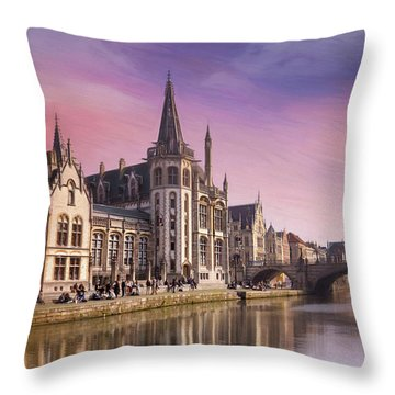 Medieval Old Town Ghent Belgium Throw Pillow