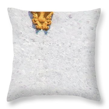Medieval Yellow Wall Sconce Throw Pillow