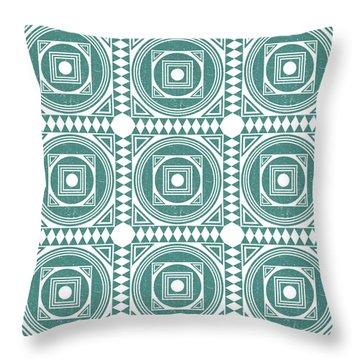 Mediterranean Pattern 4 - Tile Pattern Designs - Geometric - Teal - Ceramic Tile - Surface Pattern Throw Pillow