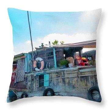 Mekong Delta Boat, Vietnam Throw Pillow