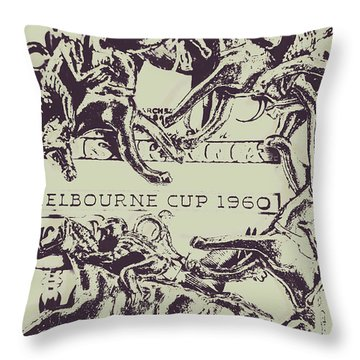 Melbourne Cup 1960 Throw Pillow