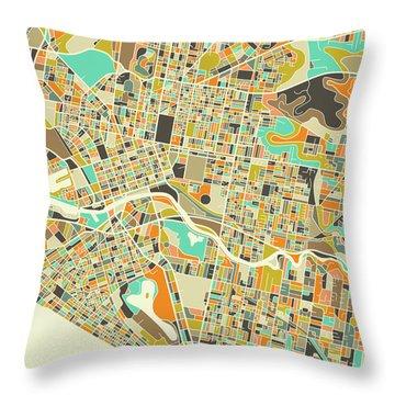 Melbourne Map 1 Throw Pillow