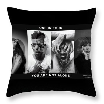 Throw Pillow featuring the digital art Mental Health Awareness - You Are Not Alone by ISAW Company