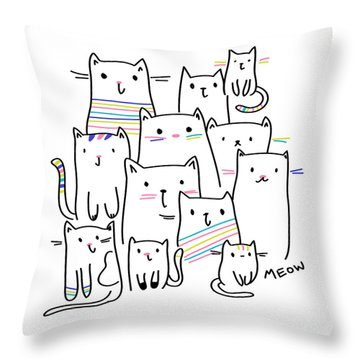 Meow Kitties - Baby Room Nursery Art Poster Print Throw Pillow