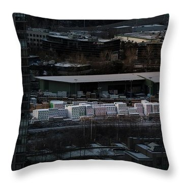 Throw Pillow featuring the photograph Merchandise Beside A Railroad Track  by Juan Contreras