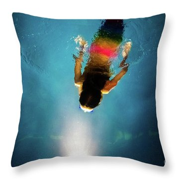 Mermaid Diving Towards The Light Of A Blue Pool At Night, With A Throw Pillow