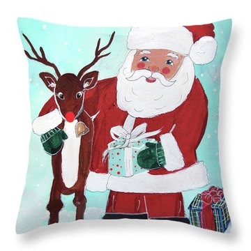 Throw Pillow featuring the painting Merry Christmas Santa Reindeer by Robin Maria Pedrero
