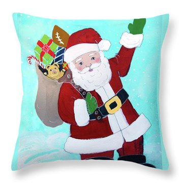 Throw Pillow featuring the painting Merry Christmas Santa With Toy Sack by Robin Maria Pedrero