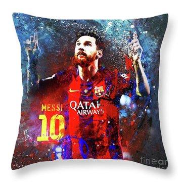 Messi Barcelona Player Throw Pillow