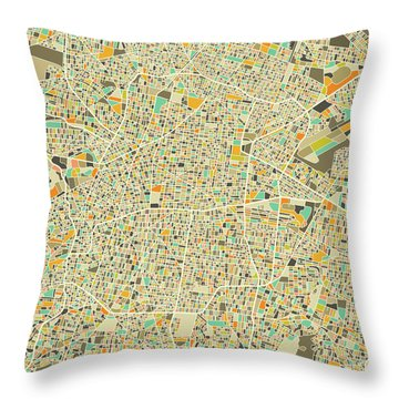 Mexico City Map 1 Throw Pillow