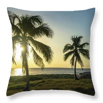 Mexico Palm Tree Sunrise Throw Pillow