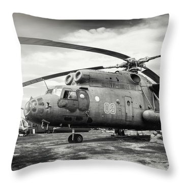Mi-6 Helicopter Riga Latvia Black And White Throw Pillow