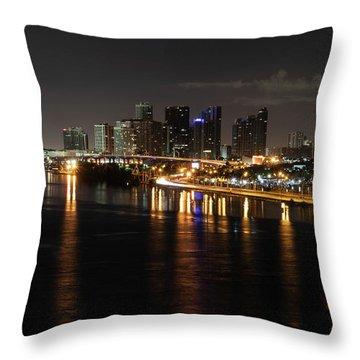 Miami Lights At Night Throw Pillow
