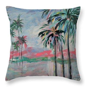 Miami Palms Throw Pillow