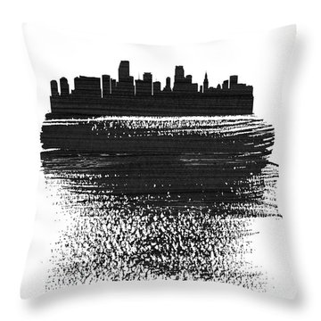 Miami Skyline Brush Stroke Black Throw Pillow