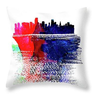 Miami Skyline Brush Stroke Watercolor   Throw Pillow