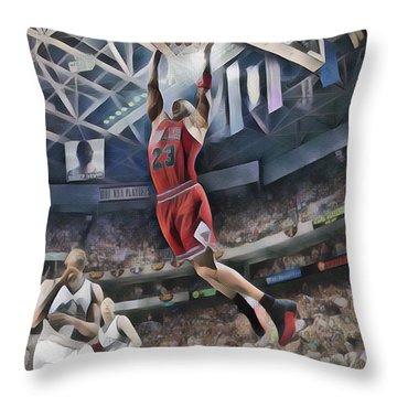 Michael Jordan Chicago Bulls Abstract Art 1 Throw Pillow