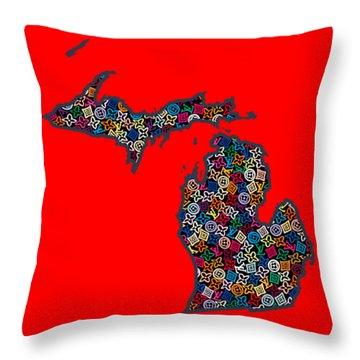 Michigan Map - 1 Throw Pillow