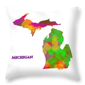Michigan- Usa Map By Artist Singh Throw Pillow